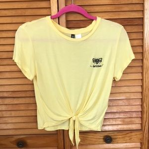 Front knot cropped tee